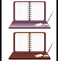 Notebook with pen isolated vector image vector image