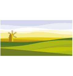 old mill in middle field vector image