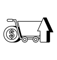 online shopping cart arrow and coin money nfc vector image