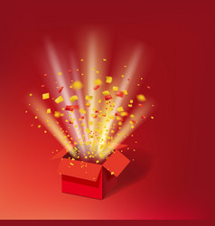 Open red gift box and colour confetti bright rays vector
