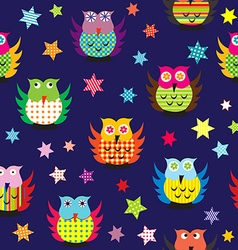 Owls in the nighttime seamless pattern vector image