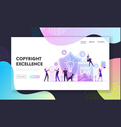 Patent law website landing page safeguard vector