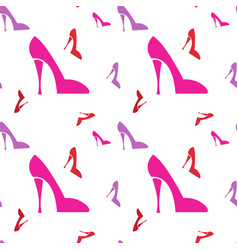 Pink female shoe seamless pattern vector