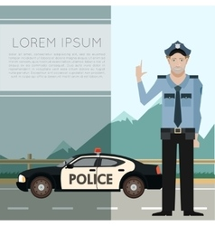 Police on the road Banner7 vector image