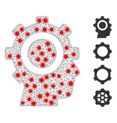 Polygonal wire frame cyborg gear pictograph vector