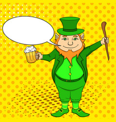 Pop art funny leprechaun with a stick and a mug of vector