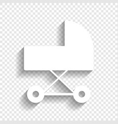pram sign white icon with vector image