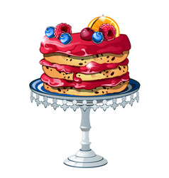 puff cake with fresh fruits and berries isolated vector image