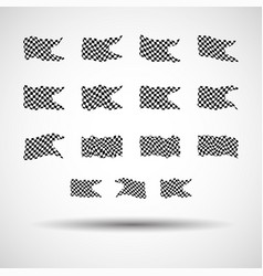Racing background set collection of 15 checkered vector