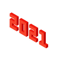 red 2021 numbers isometric object vector image