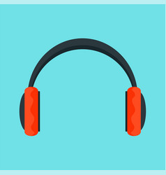 red headphones icon flat style vector image