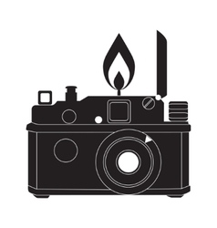 Retro camera in black and white vector image