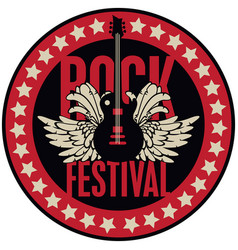 Round emblem with the guitar for a rock festival vector