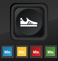 Running shoe icon symbol Set of five colorful vector image