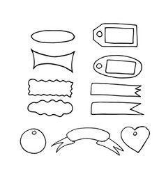 Scrapbook doodle elements set sketch hand drawn vector