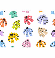 seamless pattern colorful different robots vector image
