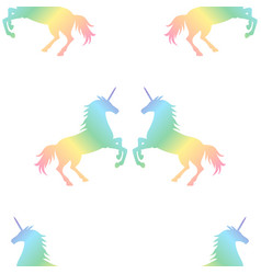 Seamless pattern from rainbow unicorns couple vector