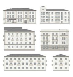 Set detailed historical building facades vector
