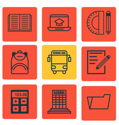 Set of 9 education icons includes opened book vector