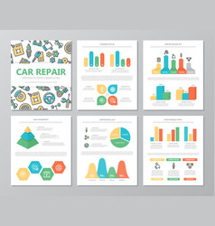 set of colored car service and auto repair vector image