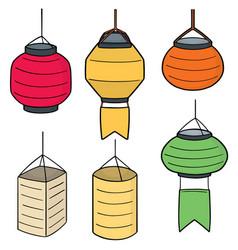 set of lantern vector image