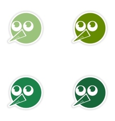 Set of paper stickers on white background head vector