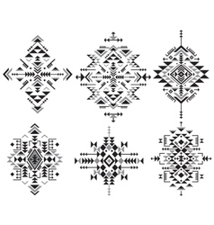 Set of six black and white ethnic pattern elements vector