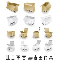 shipping box and box icon and signs vector image