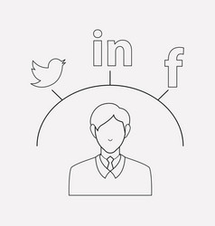 social media campaign icon line element vector image