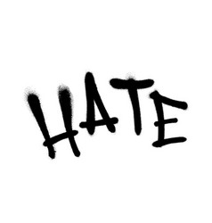 Sprayed hate font graffiti with overspray in black vector