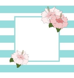 Square frame in blue stripes with hibiscus flower vector