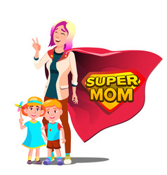 super mom mother s day shield badge vector image