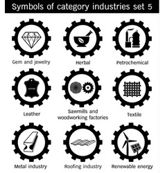 Symbole of category industries set 5 vector