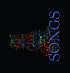 The power of songs text background word cloud vector
