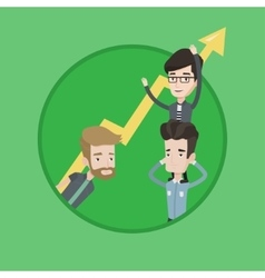 Three businessmen holding arrow going up vector