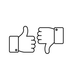 thumbs up and down like and dislike line icons vector image