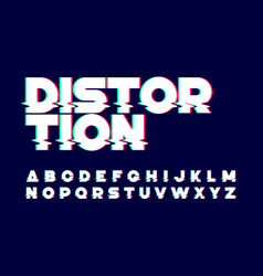 trendy style distorted glitch typeface vector image