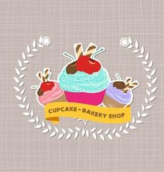 Vintage cupcake poster design vector