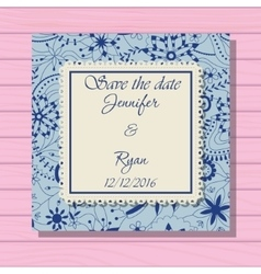 Wedding invitation classic blue colros on wooden vector