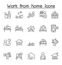Working at home icon set in thin line style vector