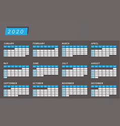 year calendar 2020 dark horizontal design vector image
