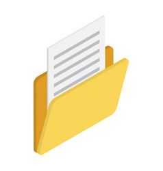 yellow folder with documents in isometric style vector image