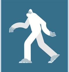 Yeti white bigfoot isolated abominable snowman vector