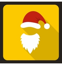 Red hat and white beard of Santa Claus icon vector image vector image