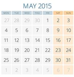 Calendar 2015 May design template vector image vector image