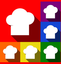 chef cap sign set of icons with flat vector image
