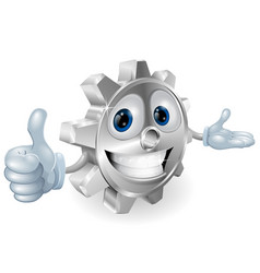 cog thumbs up mascot vector image vector image