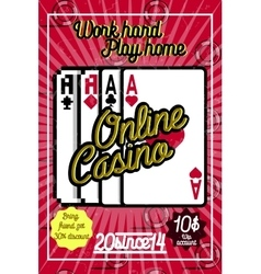 Color vintage online casino poster vector image vector image