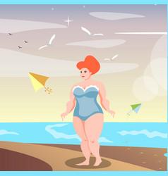 Cute confident full-figured woman on the beach vector