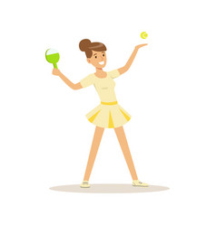 female athlete playing table tennis game active vector image